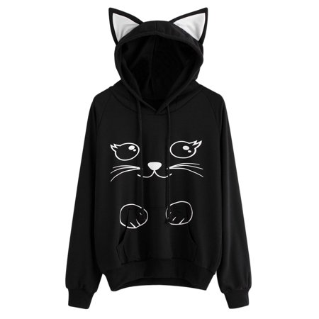 Hot Sale Women Long Sleeves Hoodie Casual Creative Novelty Hooded Pullover Sweater Top Blouse Party Cat Costume