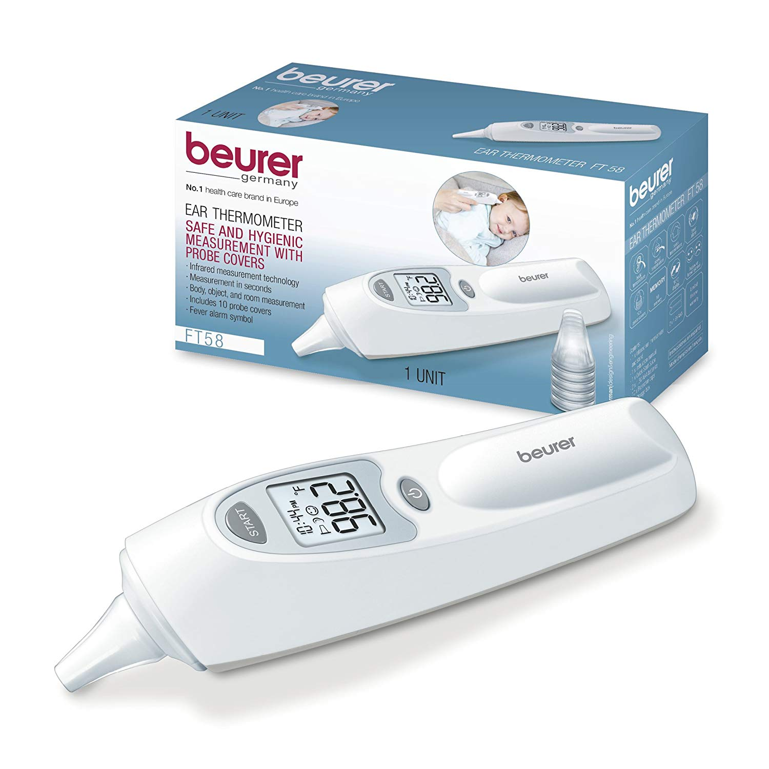 Beurer Digital Infrared Body, Room and Object Thermometer for Babies, Toddlers and Adults, FT58
