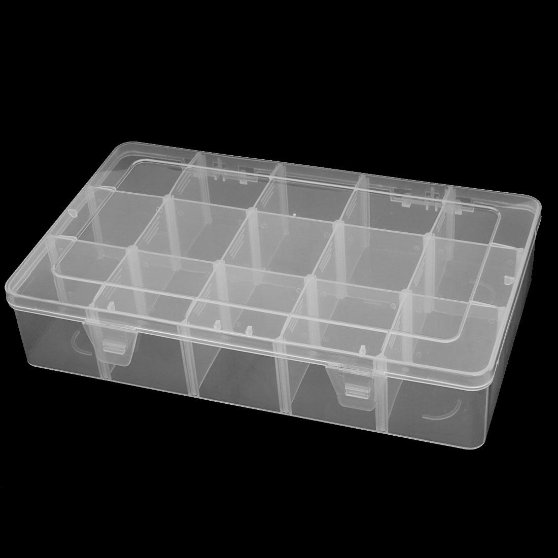 Unique Bargains Transparent Plastic 15 Compartments in 1 Electronic Component Storage Box Case Container