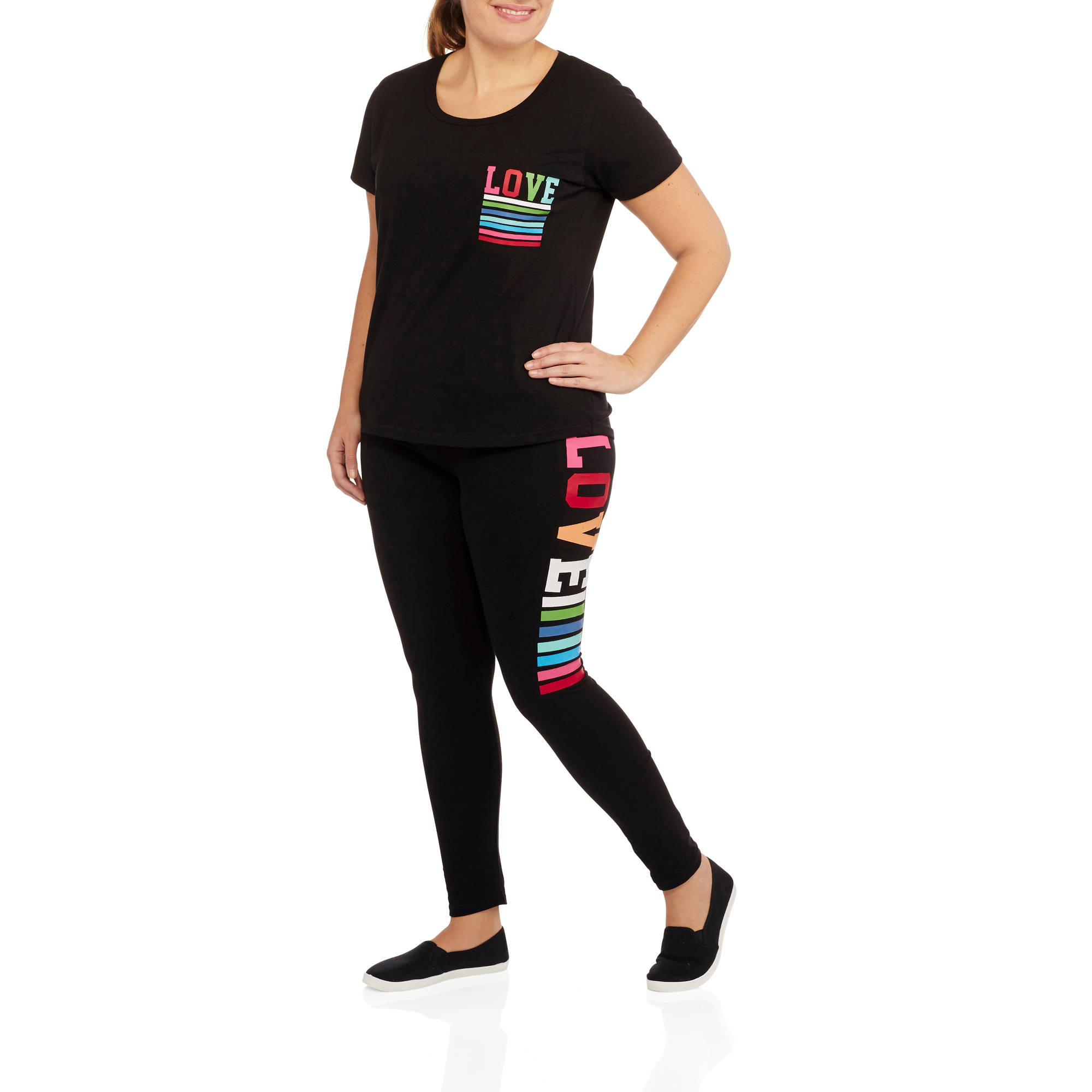 "Women's Plus Fitspiration ""Love"" Active T-Shirt and Leggings Set"