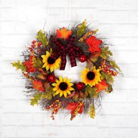 2020 Autumn Artificial Maple Leaf Wreath With Sunflowers Berries And Bowknot Front Door Window Wall Seasonal Home Decorations
