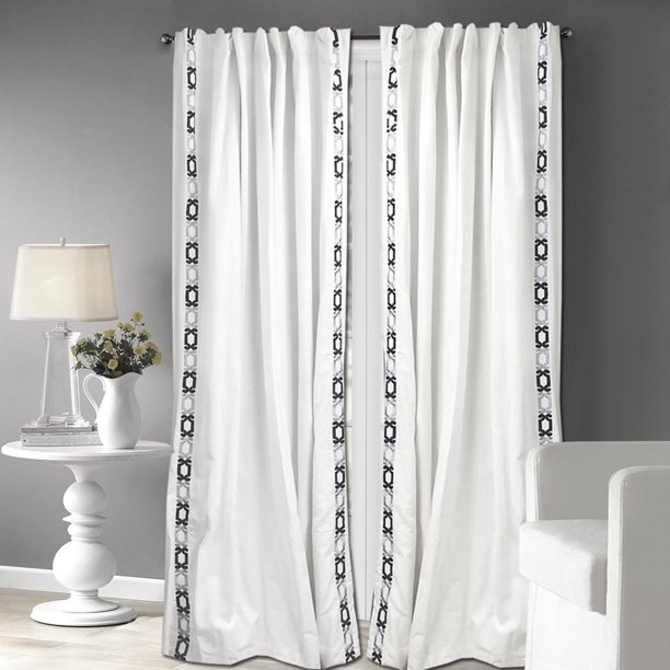 Grey Scroll Embroidery Cotton Curtain Panel, White 120