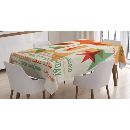 20th Birthday Decorations Tablecloth, Universal World Birthday Party With Abstract Stars, Rectangular Table Cover for Dining Room Kitchen, 60 X 84 Inches, Vermilion and Light Green, by (Birthday Stars Table Cover)