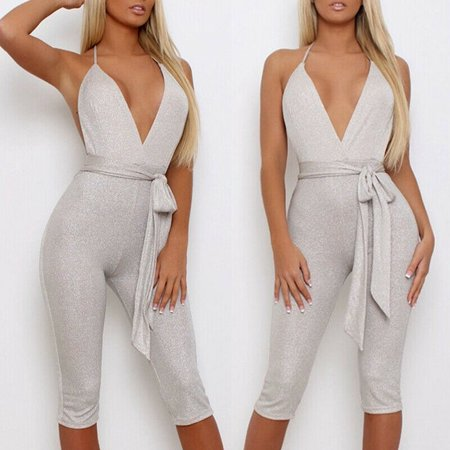 Sexy Women Clubwear Sleeveless Playsuit Bodycon Party Jumpsuit Romper (Opening Romper)