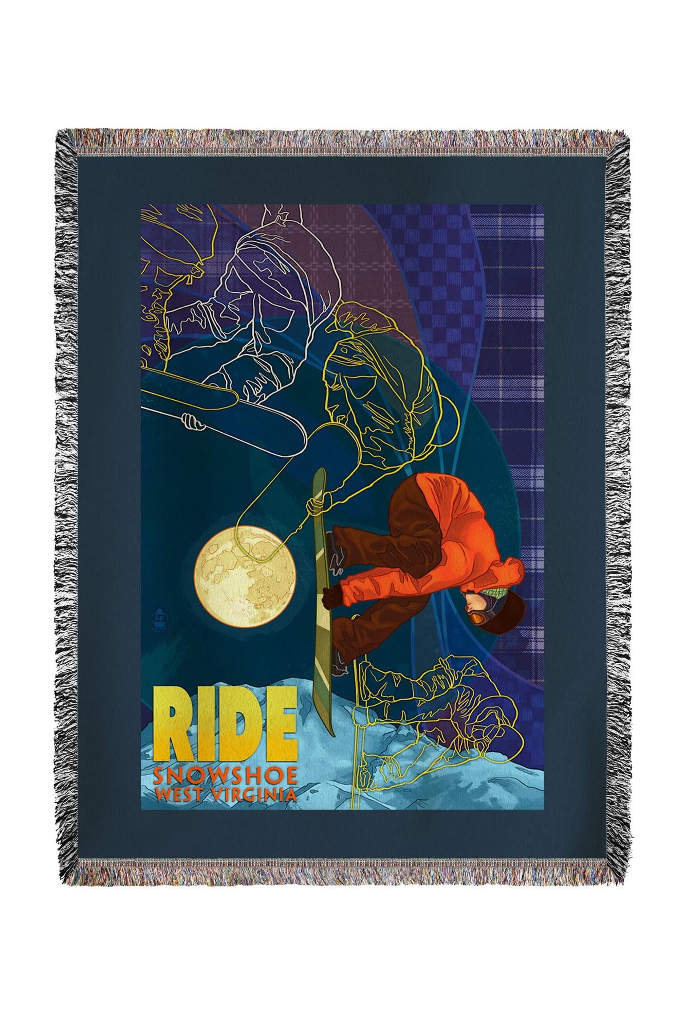 Snowshoe, West Virginia Timelapse Snowboarder Lantern Press Poster (60x80 Woven Chenille Yarn Blanket) by Lantern Press