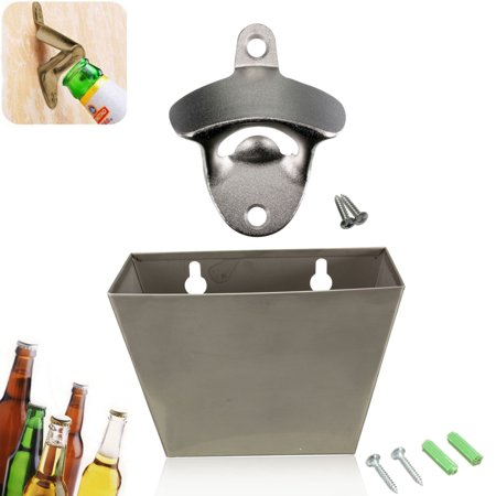 Wall Mount Stainless Steel Home Bar Tools & Accessories Kitchen Bar Beer Bottle Opener + Cap Catcher Box Screw in (Wall Mounted Bottle Opener With Magnetic Cap Catcher)