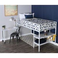 Walker Edison Twin Metal Loft Bed with Desk and shelving, White