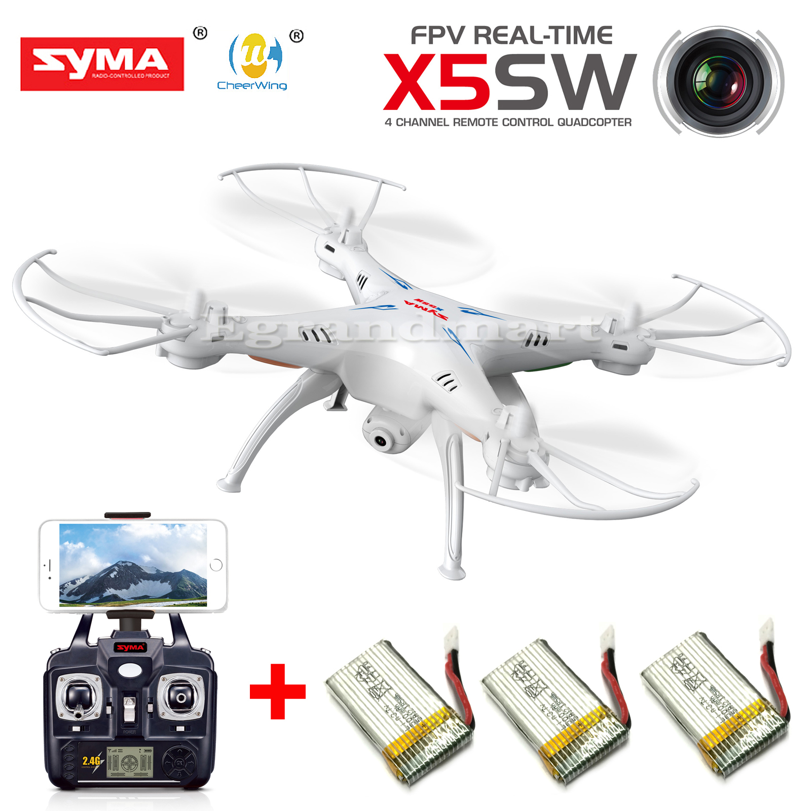 SYMA X5SW WiFi FPV 2.4Ghz 4CH RC Quadcopter Drone HD Camera RTF +3 Batteries