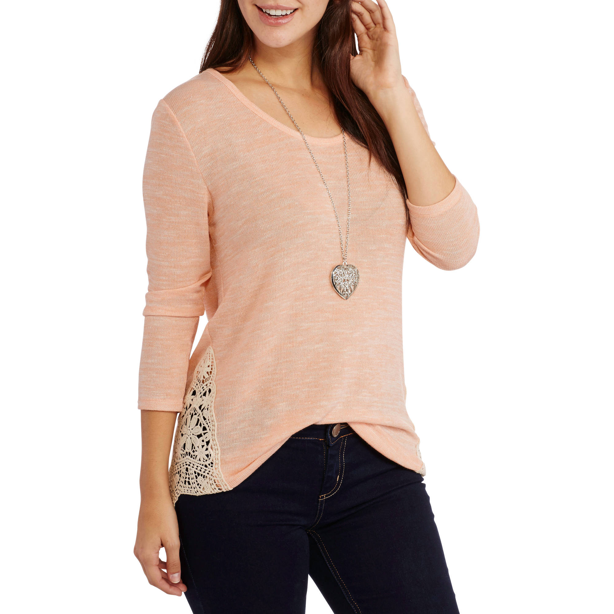 Faded Glory Women's Essential Sleeve Hacci Top with Lace Sides