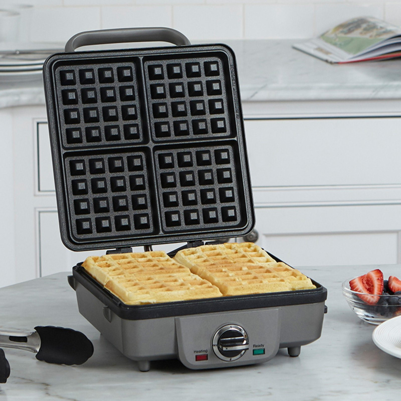 Breakfast Central Belgian Waffle Maker with Pancake Plates, Brushed Stainless