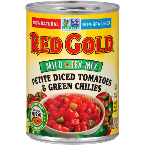 Red Gold Mild Tex-Mex Petite Diced Tomatoes & Green Chilies, 10 oz