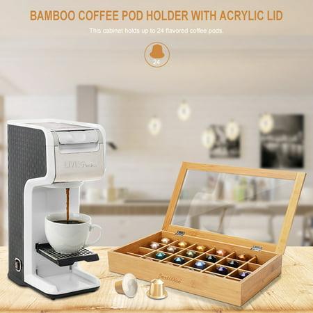 Sortwise Bamboo Coffee Pot Drawer Nespresso Pod Organizer Holder With Acrylic Lid