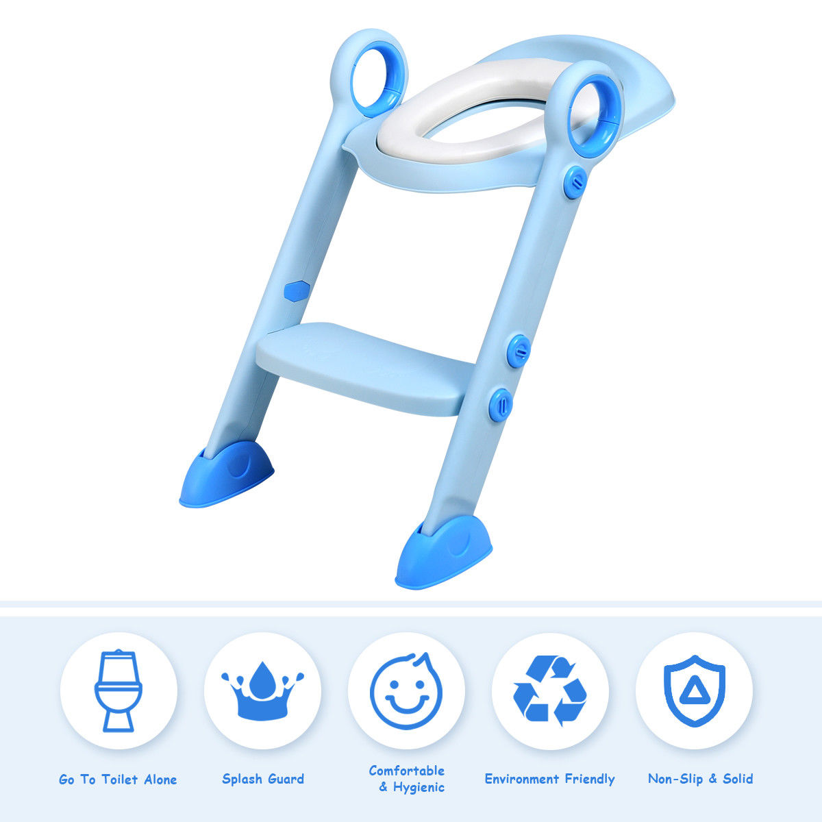 Costway Toddler Toilet Potty Training Seat with Sturdy Non-Slip Ladder Step Boys & Girls by Costway