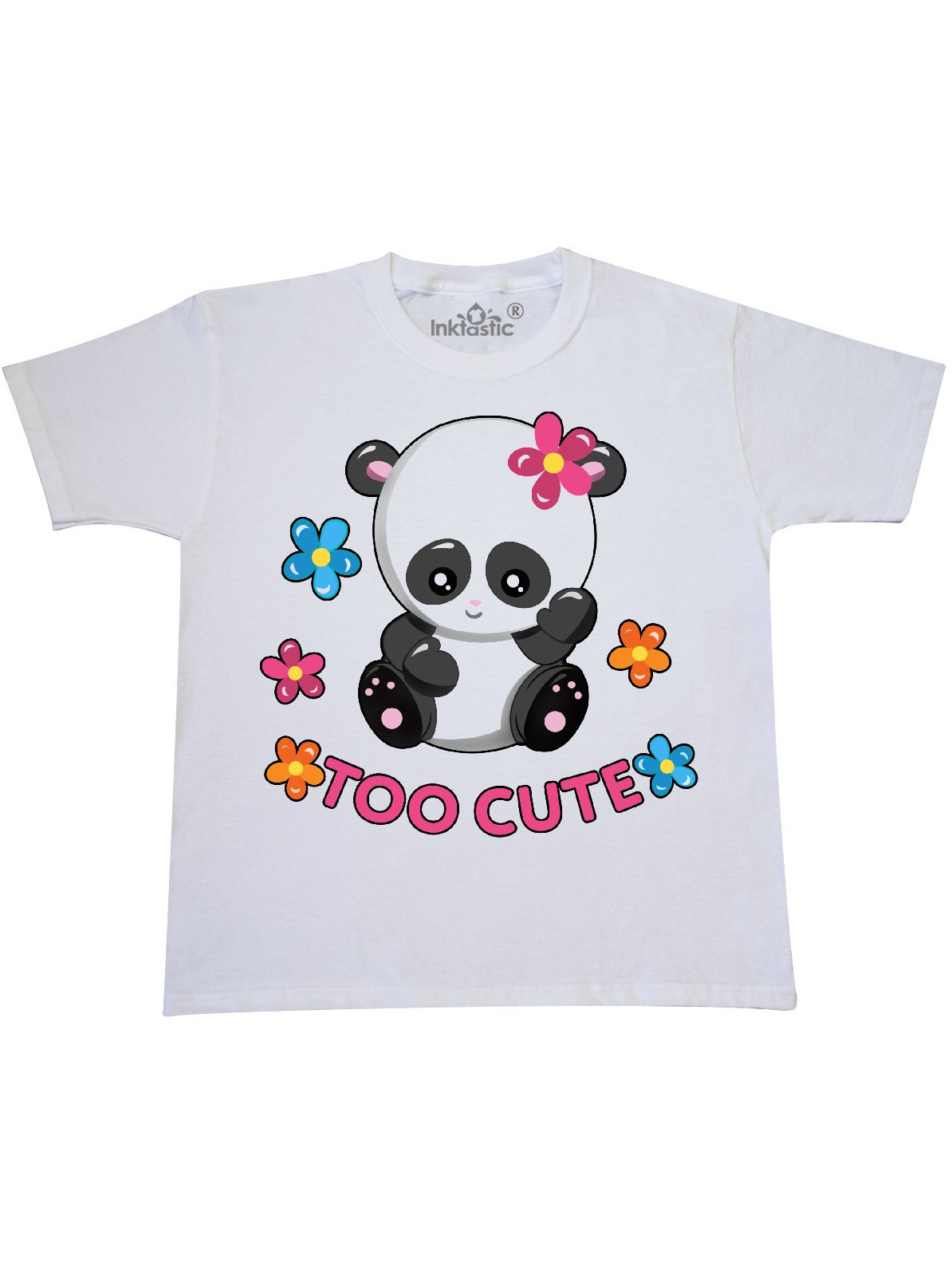 Too Cute Baby Panda with Flowers Youth T-Shirt