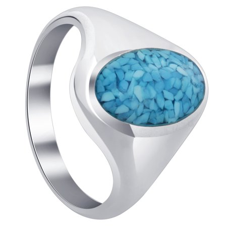 Gem Avenue Men's 925 Sterling Silver Simulated Turquoise Chip Inlay - Multi Stone Inlay Ring