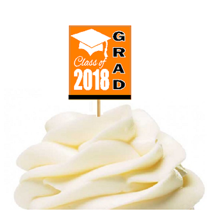 12pack Class of 2018 Orange Graduation Party CUpcake Desert Appetizer Food Decoration Picks