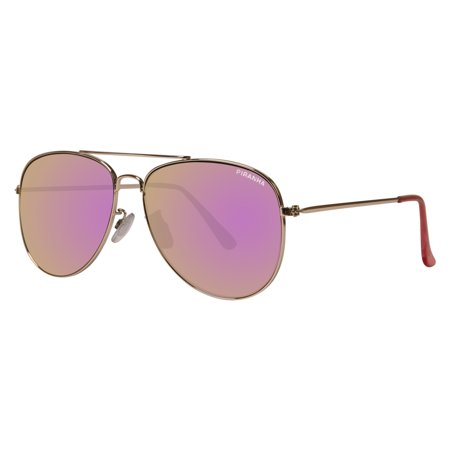 "Piranha ""Pilot"" Shiny Light Gold Metal Sunglasses with Smoke Lens and Pink Mirror Finish"