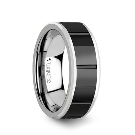 Rochester Tungsten Ring With Horizontal Grooved Black Ceramic Center