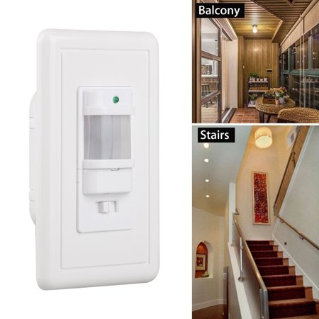 EEEkit  PIR Motion Sensor Light Switch Wall Switch for Indoor Use – Vacancy & Occupancy Modes, NEUTRAL Wire Required, Single Pole, Adjustable Timer, Detection angle 180°