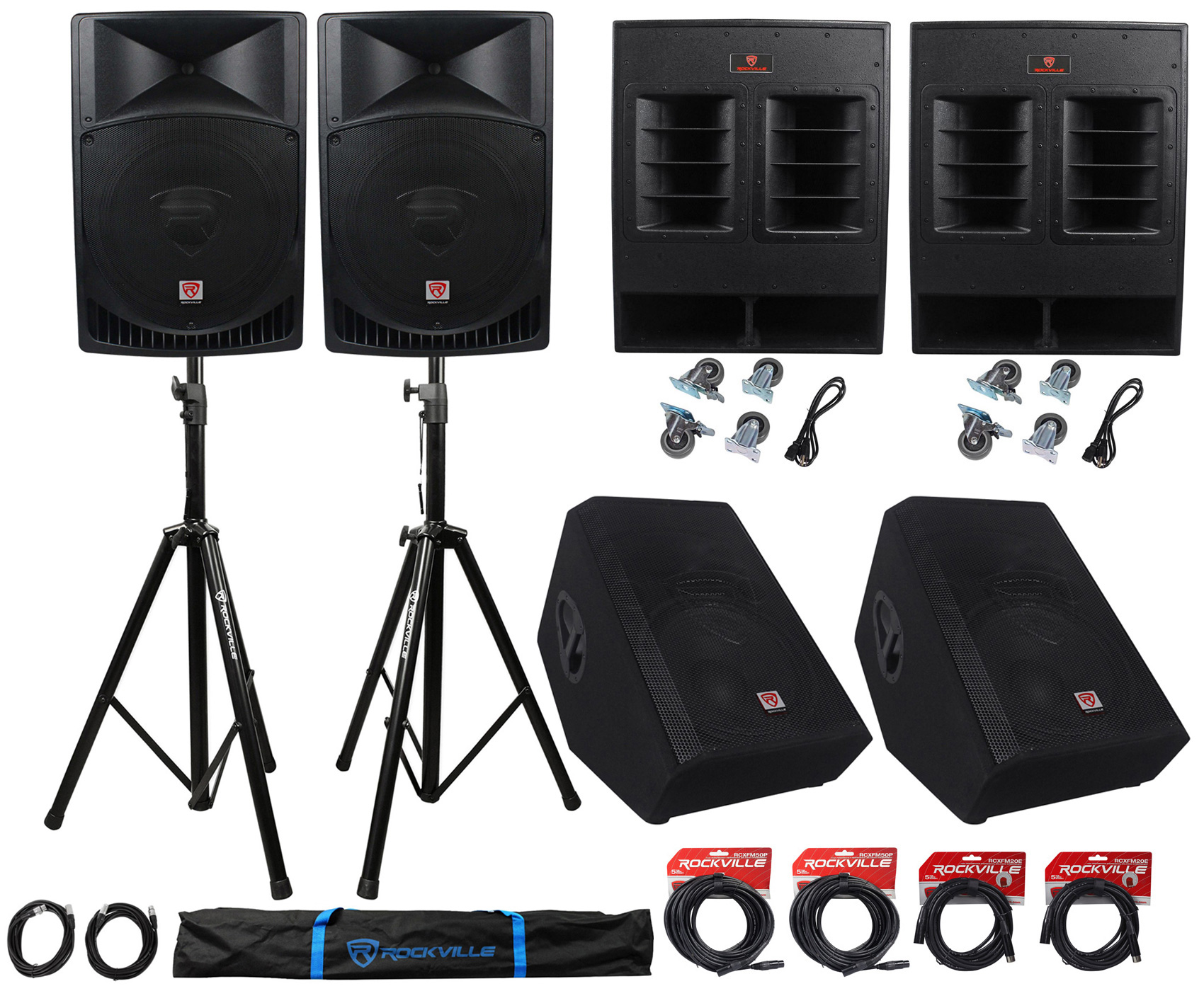 "Rockville PA System w  15"" Speakers+18"" Subwoofers+15""... by"