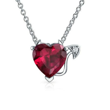 Valentine Red Cubic Zirconia CZ Devil Heart Shape Pendant Necklace For Women 925 Sterling Silver 16 Inch Gemstone Heart Shape Pendant