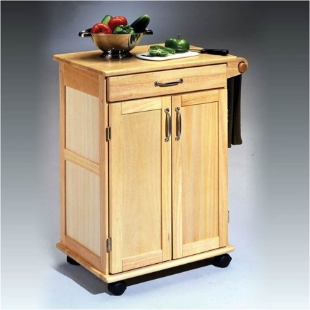 Pemberly Row Paneled Door Kitchen Cart with Towel Rack in Natural - Horse Racing With Cart