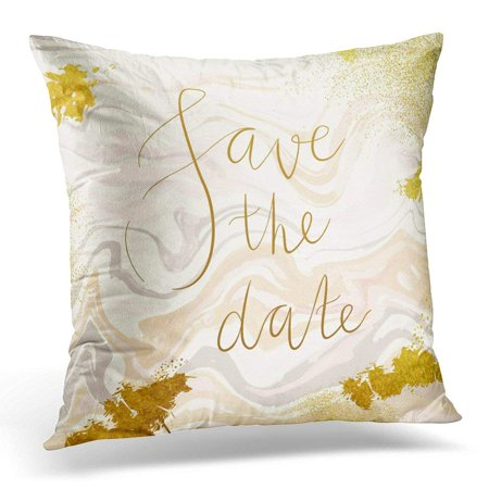 CMFUN Marble with Peach Pink and Glittering Gold Liquid Acrylic Drips on White Paint Waves Vortexes Pillow Case Pillow Cover 18x18 - Peach Gold