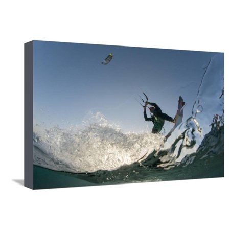 Kite Surfing on Red Sea Coast of Egypt, North Africa, Africa Stretched Canvas Print Wall Art By