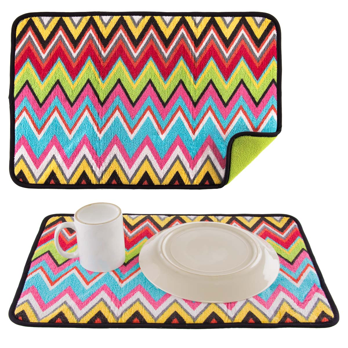 French Bull (2 Pack) Absorbent Microfiber Quick Drying Dish Mats Reversible  For Kitchen 20 X 14