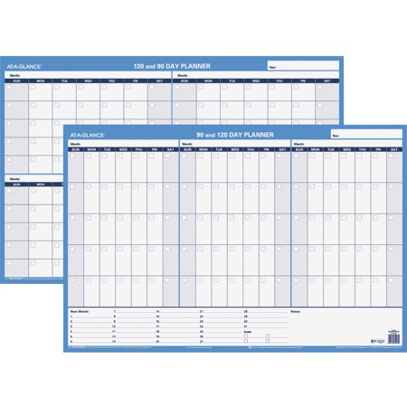 At-A-Glance, AAGPM23928, 90/120-Day Erasable Wall Planner, 1 Each, Blue