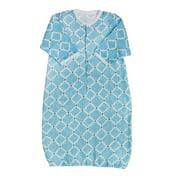 Blossom and Buds Blue Quatrefoil Muslin Cotton Gown, 0-6 Months