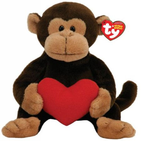 TY Beanie Baby D'vine Monkey with Red