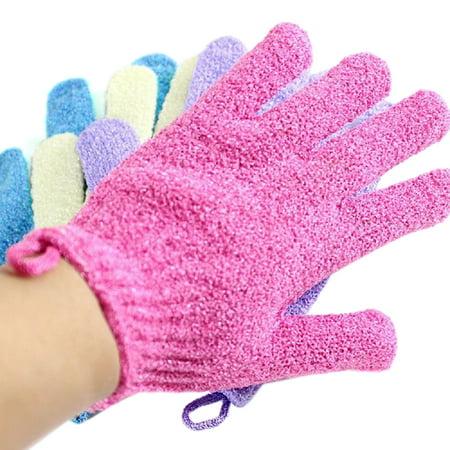 4 Pair Exfoliating Shower Bath Glove Scrubber Shower Dead Skin Cell Remover Body Spa Massage Gloves (Red+Purple+Green+Beige)