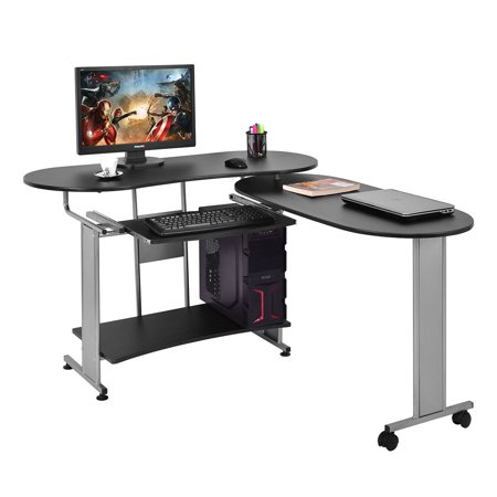 Costway L Shaped Computer Desk Expandable PC Laptop Desk Corner Workstation H