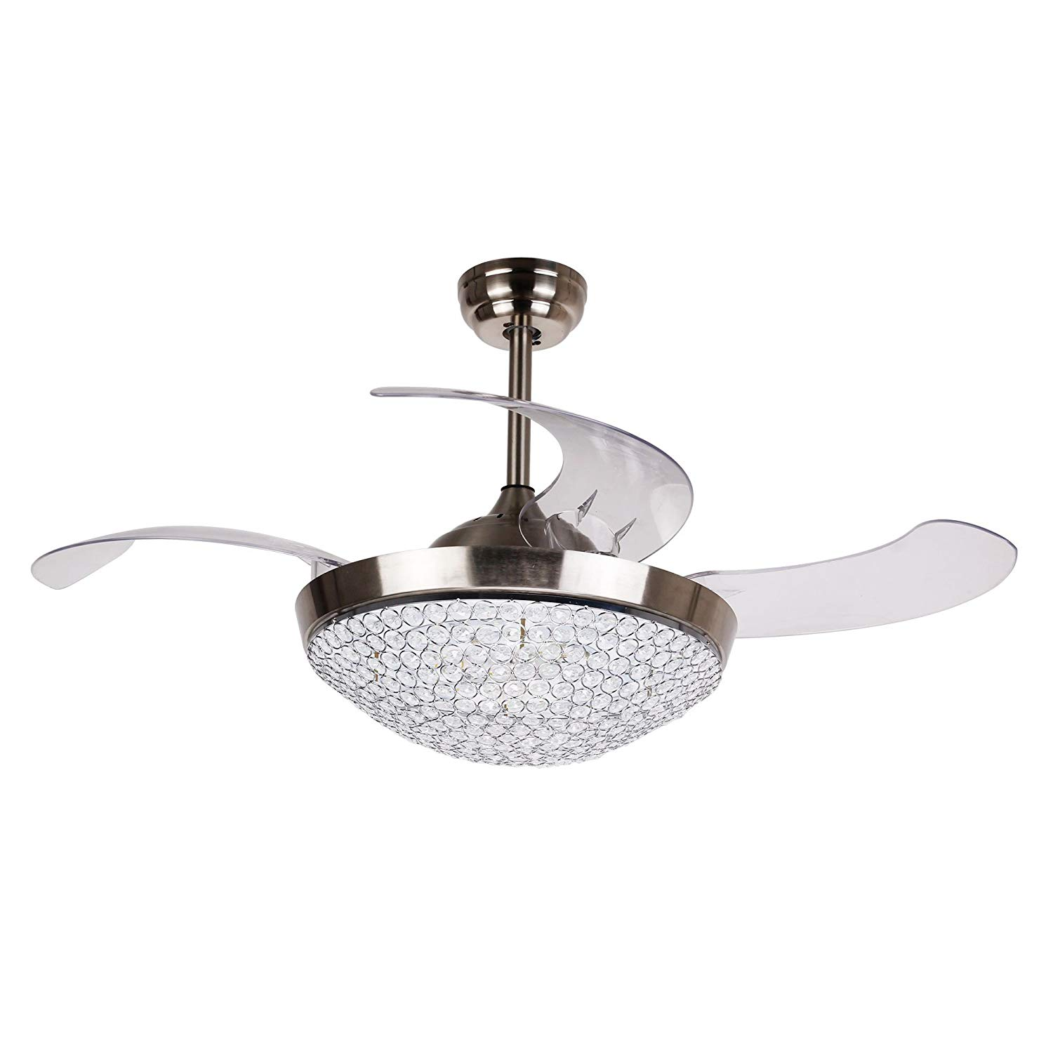 Ceiling Fan with Light 46 Inch LED Ceiling Fan Retractable Blades ...