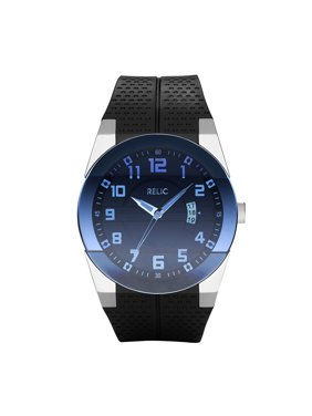 Men's Jake Quartz Stainless Steel and Silicone Casual Watch, Color Silver-Tone, Black (Model: ZR11861)