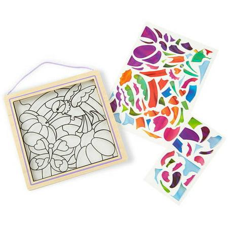 Melissa   Doug Stained Glass See Through Window Art Kit  Rainbow Garden   80  Stickers  Frame