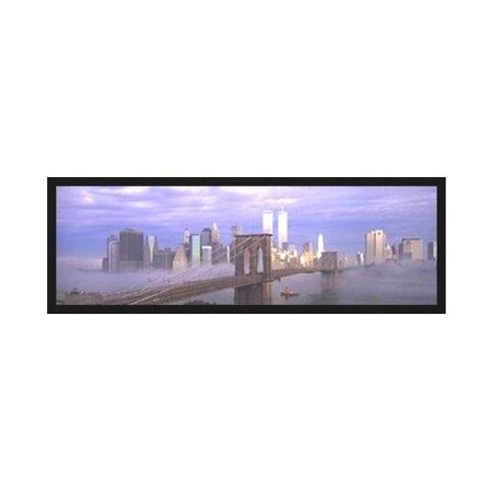 FRAMED Manhattan in the Mist Skyline 36x12 Art Print Poster Panoramic Night Brooklyn Bridge Twin Towers World Trade Center New York City