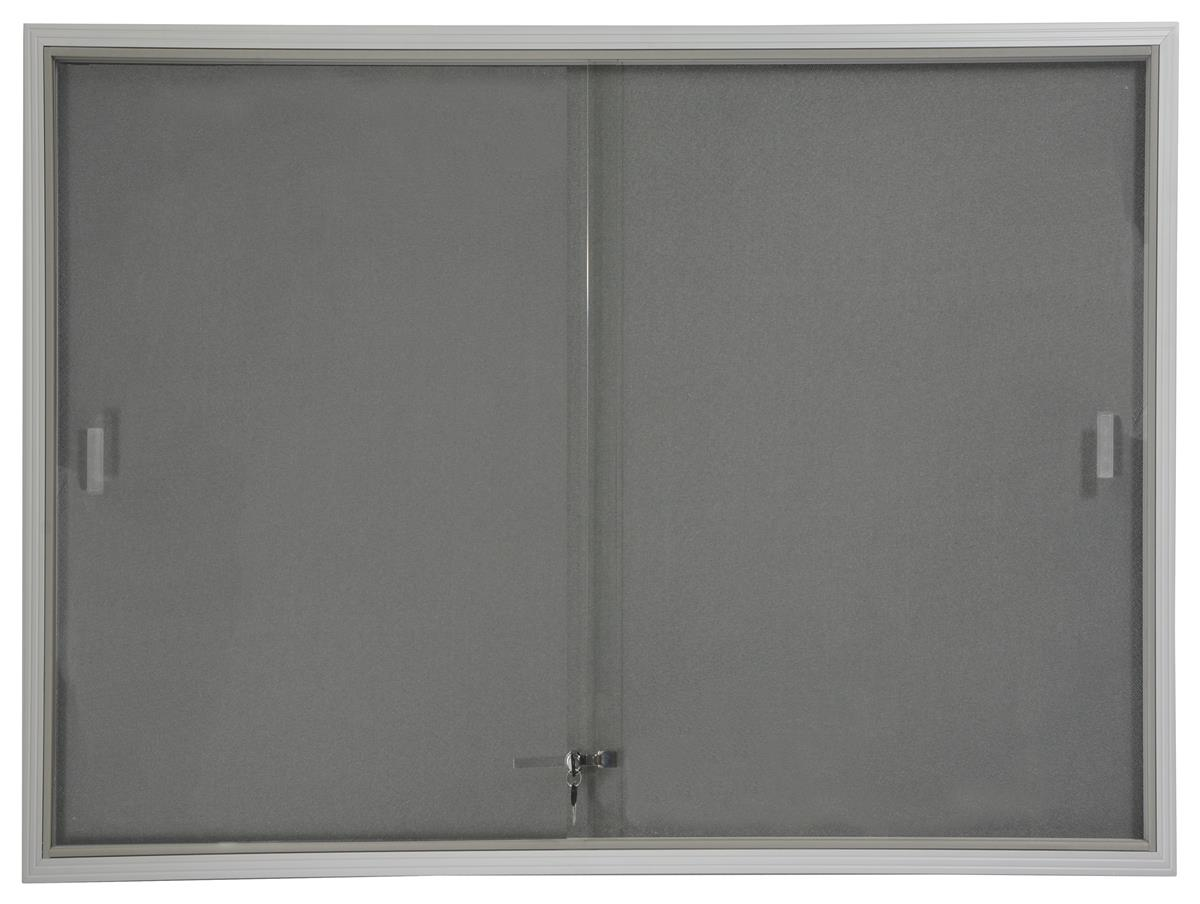 48x36 Indoor Bulletin Board with Gray Fabric Backing, 4' x 3' Enclosed Message Board with Locking, Sliding... by Displays2go