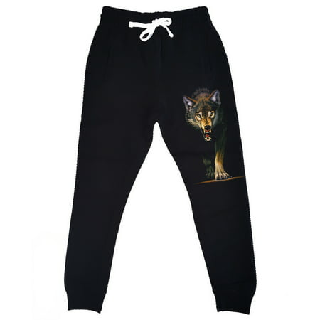 Men's Stalking Wolf Black Fleece Gym Jogger Sweatpants 2X-Large Black