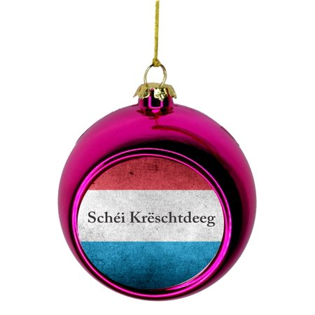 Flag Luxembourg  Bauble Christmas Ornaments Pink Bauble Tree Xmas Balls ()