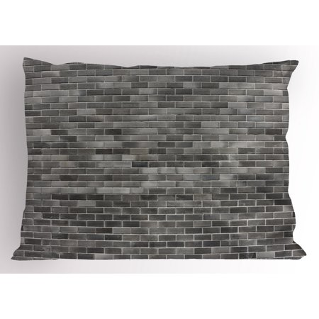 Grey And White Pillow Sham Modern Brick Wall Tiles Urban Construction Architecture Building Town Art Picture Decorative Standard Queen Size Printed