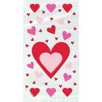 Hearts Valentine's Day Red Cellophane Candy Bags, 20ct