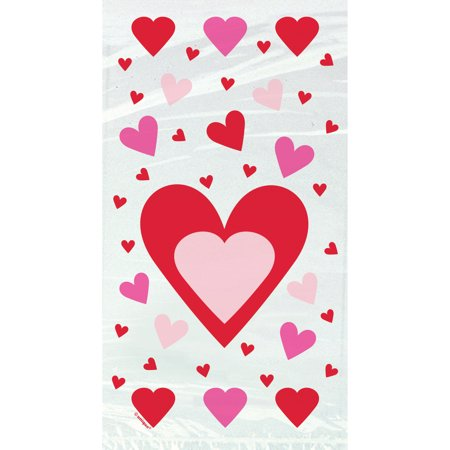 Hearts Valentine's Day Cellophane Candy Bags, 20ct Cellophane Pretzel Bags