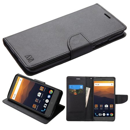 Insten For Zte Max Xl N9520 Black PU Leather Fabric Case with Stand Black Fabric Case