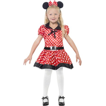 Smiffys 26858L Red Cute Mouse Costume with Dress Belt & Headband - Large