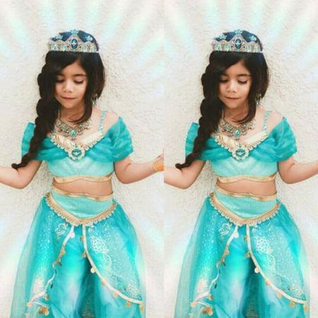 Princess Jasmine Halloween Costume For Toddlers (Pudcoco Aladdin Jasmine Princess Cosplay Baby Kid Girl Fancy Dress Up Party Costume)