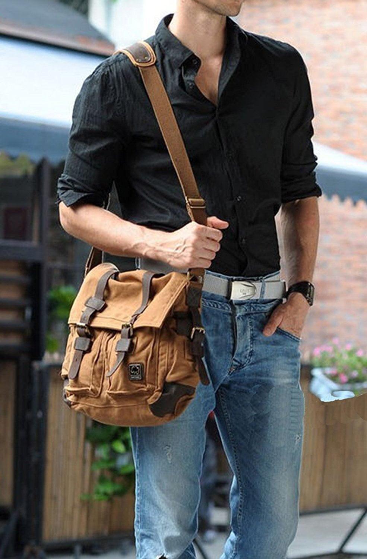 Men/'s Vintage Canvas Leather Satchel School Military Shoulder Bag Messenger Bag