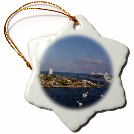 3dRose Royal Caribbean cruise ship, Florida, USA - US10 JEN0021 - Jim Engelbrecht, Snowflake Ornament, Porcelain, 3-inch