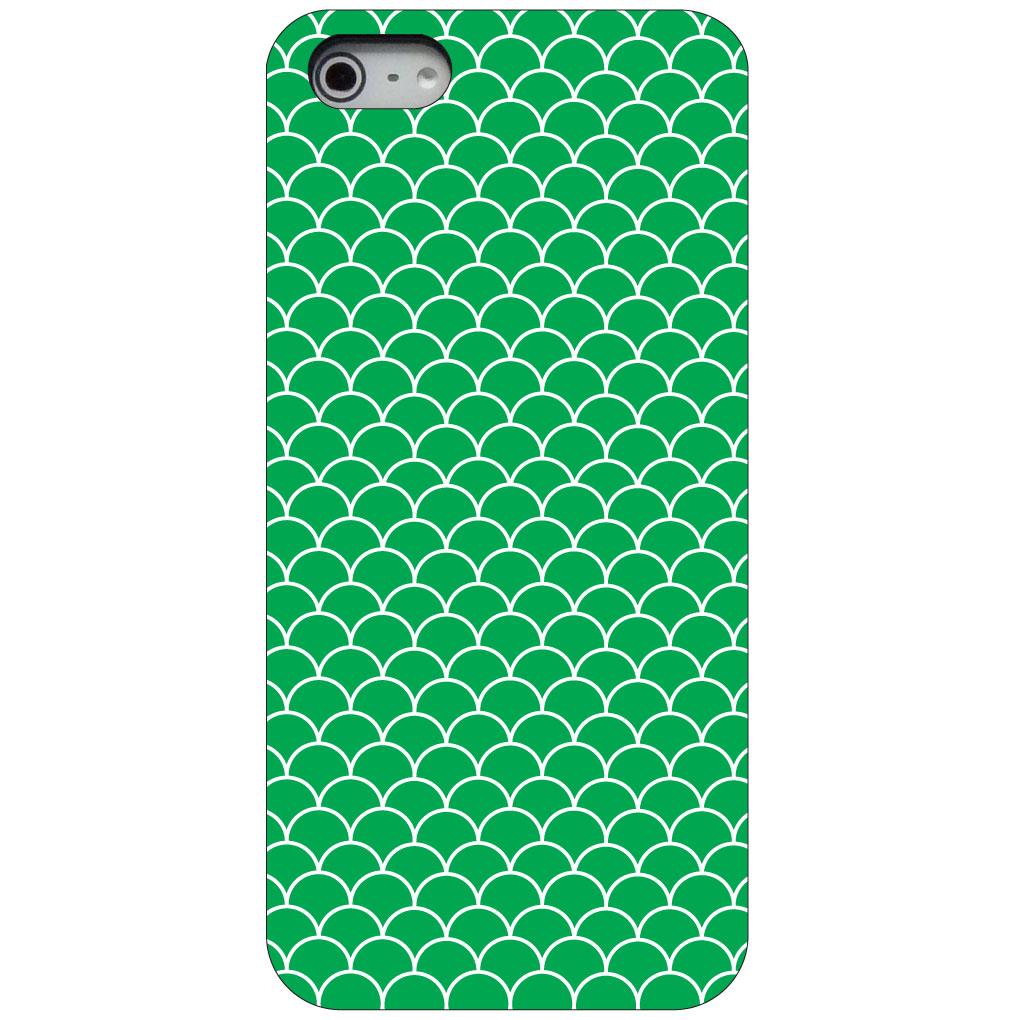 CUSTOM Black Hard Plastic Snap-On Case for Apple iPhone 5 / 5S / SE - Green White Scalloped Pattern